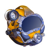 Modern deep sea diving helmet, isolated — Stock Photo