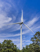 Wind turbine in the woods — Stock Photo