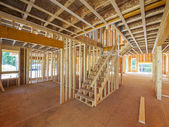 New house construction interior framing — Stock Photo