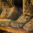 Old worn leather shoes — Stock Photo