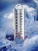 Ice cold thermometer in ice and snow — Foto de Stock