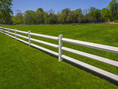White fence on a green grassy field — 图库照片