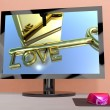Love Key On Computer Screen Showing Online Dating — Stock Photo