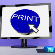 Stock Photo: Print Button On Computer For Web Printout