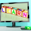 Stock Photo: Learn Blocks On Computer Screen Showing Online Kids Education