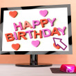 Happy Birthday On Computer Screen Showing Online Greeting — Stock Photo
