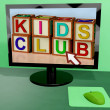 Kids Club Blocks On Computer Shows Childrens Learning - Stock Photo