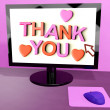 Thank You Message On Computer Screen Showing Online Appreciation — Foto Stock
