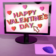 Happy Valentine's Day On Computer Screen Showing Online Greeting — Stock Photo