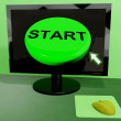 Start Button On Computer Shows Control Or Activating — Stock Photo