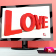 Love Word On Computer Screen Showing Online Dating — Stock Photo