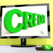Credit Word On Computer Shows Financial Loan — Stock Photo