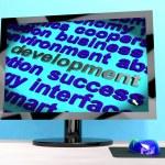 Development Word On Computer Showing Advancement — Stock Photo