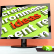 Ideas Key On Computer Screen Showing Creativity - Stock Photo