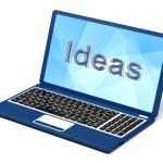 Palabra de ideas en la pantalla del ordenador portátil mostrando creatividad — Foto de Stock