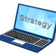 Strategy Word On Laptop Showing Teamwork And Planning — Stock Photo