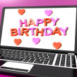 Happy Birthday On Laptop Computer Screen Showing Online Greeting — Stock Photo