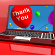Thank You Balloon On Computer As Online Thanks Message — Stock Photo