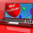Stock Photo: We Deliver Balloons On Computer Showing Delivery Shipping Servic