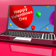 Stock Photo: Happy Valentines Day Balloons On Laptop Show Love