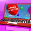 Happy Birthday Balloons On Laptop Computer Screen Showing Online — Stock Photo