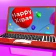 Red Balloons With Happy Xmas On Computer For Online Greetings — Stock Photo #12652242