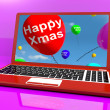 Stock Photo: Red Balloons With Happy Xmas On Computer For Online Greetings