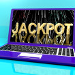 Jackpot Word With Fireworks On Laptop Showing Winning — Stock Photo