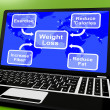 Weight Loss Diagram On Laptop Showing Exercise And Calories — Stock Photo