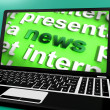 News Word On Laptop Shows Media And Information — Stock Photo