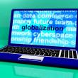 globalisering word på laptop visar internationella affärer — Stockfoto