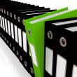 Green File Amongst Black For Getting Office Organized — Foto de stock #12652441