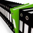 Stock Photo: Green File Amongst Black For Getting Office Organized