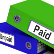 Paid Unpaid Files Shows Overdue Invoices And Bills — Stock Photo