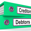 Creditors Debtors Files Shows Lending And Borrowing — Stock Photo