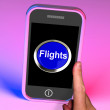 Stock Photo: Flights Button On Mobile Shows Overseas Vacation Or Holiday