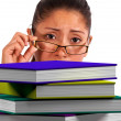 Lady Looking At Books Shows Education — Stock Photo #12653081