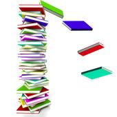 Stoh knih s klesající zastupující, učení a educa — Stock fotografie
