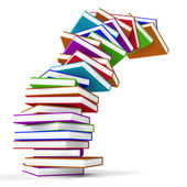 Stack Of Colorful Falling Books Representing Learning And Educat — Stock Photo