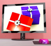 Gift Purchases Or Computer Greetings Online — Stock Photo