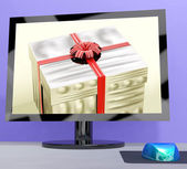 Gift Purchase Or Computer Greeting Online — Stock Photo