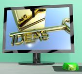 Ideas Key On Computer Screen Showing Creativity — Stock Photo