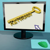 Keywords Key On Computer Shows Online Optimization — Stock Photo