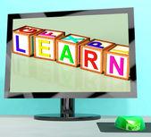 Learn Blocks On Computer Screen Showing Online Kids Education — Stock Photo