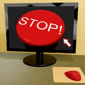 Stop Button On Computer Shows Denial Or Disapproval — Stock Photo