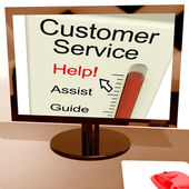 Customer Service Help Meter Shows Assistance And Support Online — Stock Photo