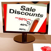 Fifty Percent Sale Discounts Showing Online Bargains — Stock Photo