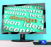 Design Word On Computer Shows Graphic Artwork — Stock Photo