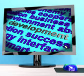 Development Word On Computer Showing Advancement — Stock Photo