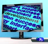 Palavra de desenvolvimento em computador mostrando o avanço — Foto Stock